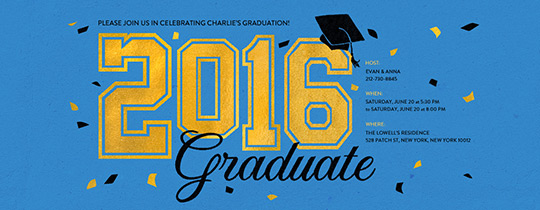 2016 Graduate Blue Invitation