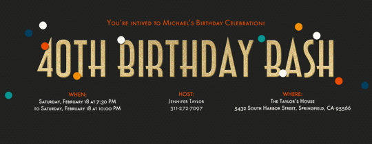 Birthday Milestones free online invitations – 40th Birthday Invite
