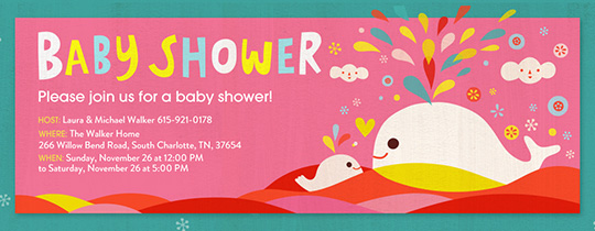 baby shower, whales, baby, animal, animals, water, ocean, hearts, stars, star, pink