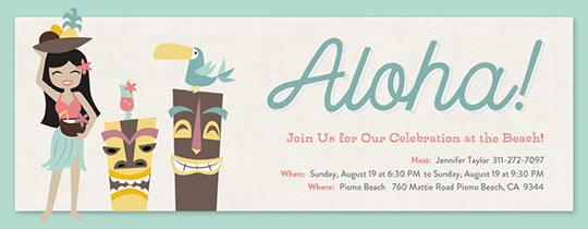 Beach Aloha Hula Invitation