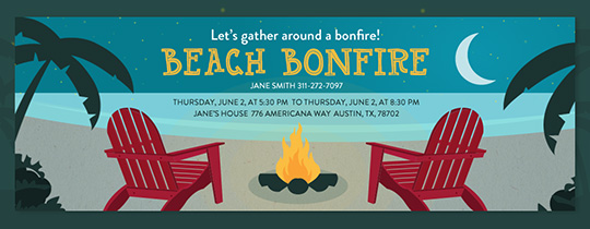 Beach Bonfire Party Invitation
