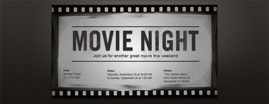 Black-and-White Movie Invitation