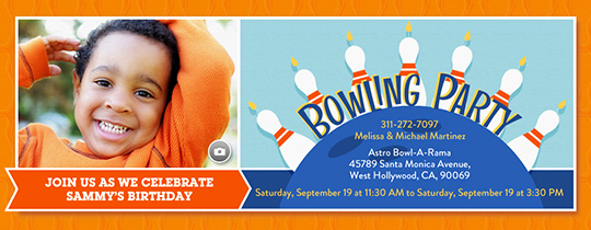 Bowling Birthday Invitation