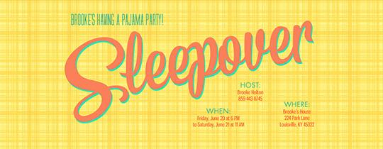 Bright Sleepover Invitation