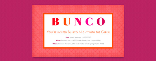 Bunco Frame Invitation