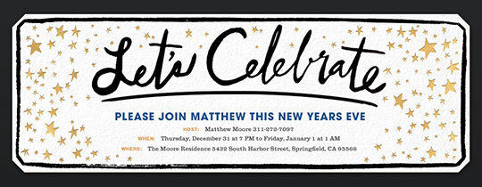 Celebrate Stars New Years Invitation