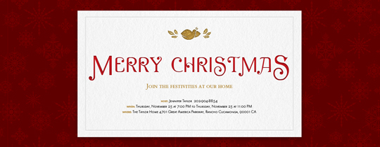Christmas Dove Invitation