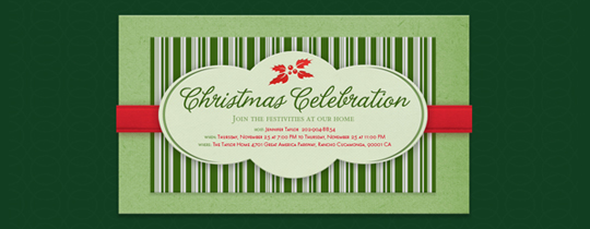 christmas, green, holiday, holly, party, ribbon, stripes, xmas