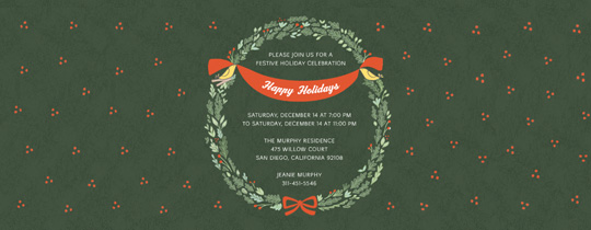 Christmas Wreath Invitation
