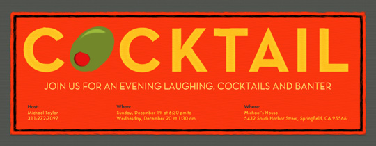 Cocktail Olive Invitation