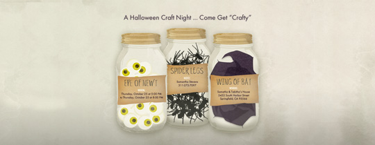 bat, bat wing, craft, craft night, crafts, eye of newt, halloweek, halloween, jars, mason jars, spider, spider legs, wing of bat