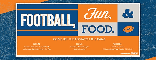 Football, Fun & Food Invitation