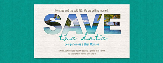 beach, caribbean, destination wedding, hawaii, ocean, palm trees, sand, tropical, beach party, save the date,