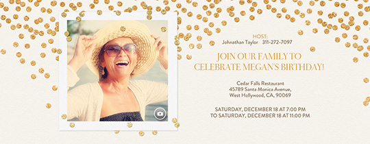 Festive Gold Confetti White Invitation