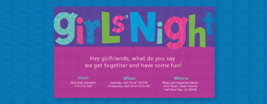 girl's night, girls, girls night, girls night out, colors, pink, purple, blue, fun, animal, animal print