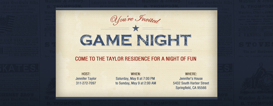 Game Night Star Invitation