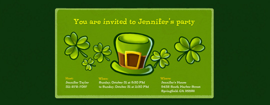 Hat and Shamrocks Invitation