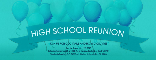 10th reunion, 5th reunion, balloons, high school, reunion