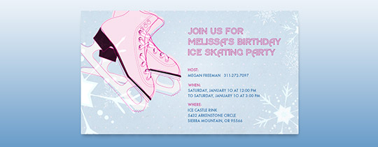 Hit the Ice Pink Invitation