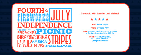 July 4th Collage Invitation