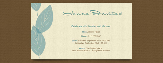 autumn, beige, blue, brown, fall, green, leaf, leaves, letterpress, nature, parchment, script, tan, turquoise, you're invited