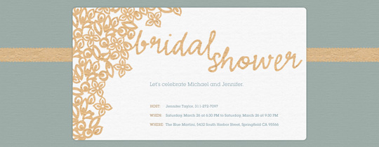 Bridal shower free online invitations for Online wedding shower invitations