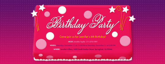 Party Cake Invitation