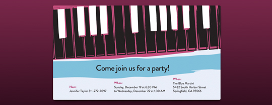 Piano Keys Invitation