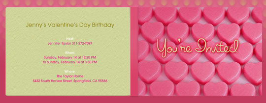 anniversary, candy, hearts, love, pink, valentine's day, you're invited
