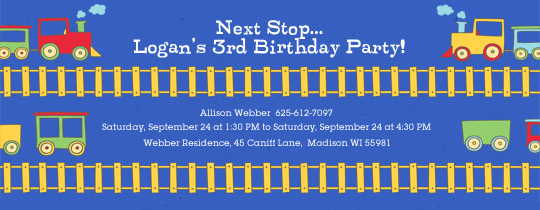 Railroad Birthday Invitation