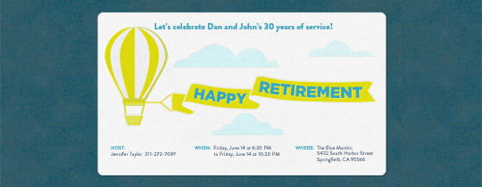 balloon, retirement, retirement party