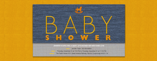 baby, boy, denim, horse, orange, rocking, shower