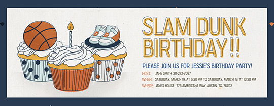 Slam Dunk Cupcakes Invitation