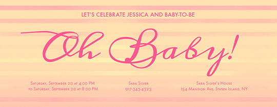 Stripes Oh Baby Invitation