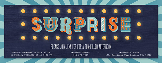 Surprise in Lights Invitation