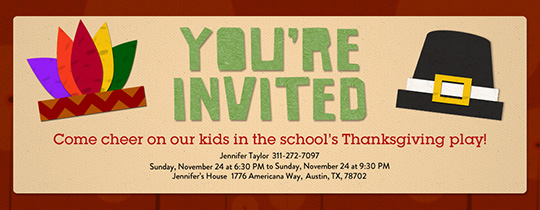 Thanksgiving Hats Invitation