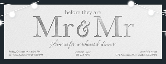 Wedding Mr Mr Invitation