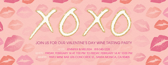 XOXO Kisses In Pink Invitation