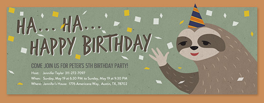 Zoo Sloth Birthday Invitation