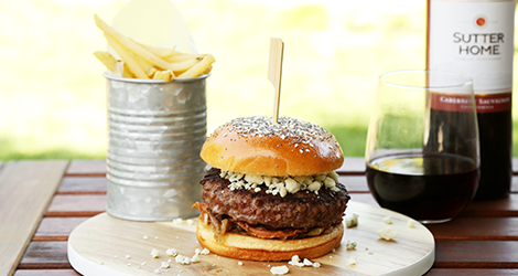 Blue Cheese Burger + Cabernet Sauvignon