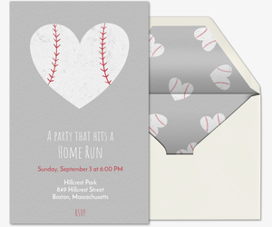 Baseball Heart Invitation