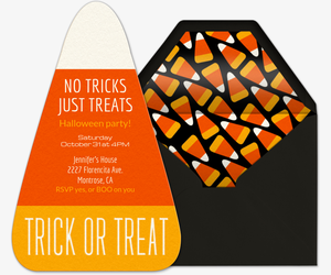 No Tricks Just Treats Invitation