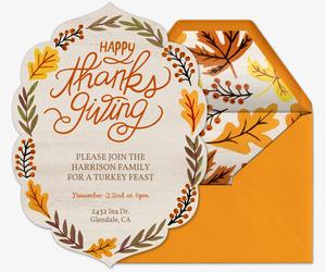 Evite free online thanksgiving dinner invitations thanksgiving foliage invitation pronofoot35fo Choice Image