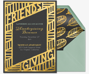 Gold Feathers Invitation