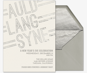 Auld Lang Syne  Silver Invitation