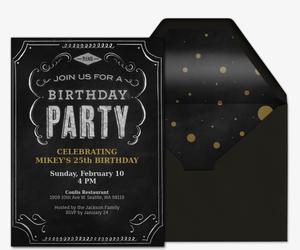 Free birthday party invitations for him evite birthday chalkboard invitation stopboris Images