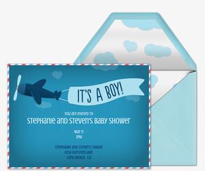 Itu0027s A Boy! Airplane Copy Invitation