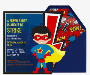 Superhero Pow Invitation