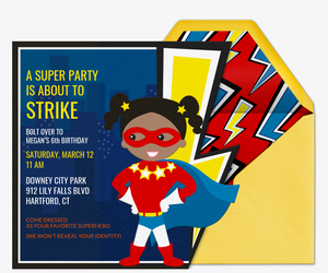 Superhero Pow Girl Invitation