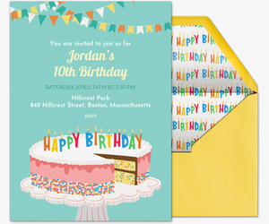 Free kids birthday invitations online invites for children birthday cake sprinkles invite invitation stopboris Image collections